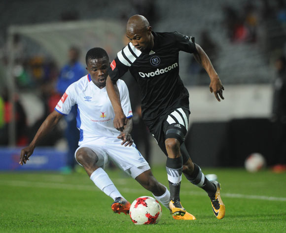 Thabo Qalinge of Orlando Pirates is challenged by Mako Paseka of Chippa United during the Absa Premiership match between Orlando Pirates and Chippa United on the 19 August 2017 at Orlando Stadium © Sydney Mahlangu /BackpagePix