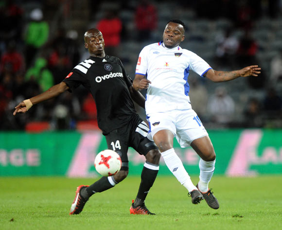 Musa Nyatama of Orlando Pirates is challenged by Andile Mbenyane of Chippa United during the Absa Premiership match between Orlando Pirates and Chippa United on the 19 August 2017 at Orlando Stadium © Sydney Mahlangu /BackpagePix