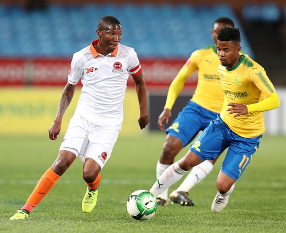 Jabulani Maluleke of Polokwane City challenged by George Lebese of Mamelodi Sundowns during Absa Premiership 2017/18 match between Mamelodi Sundowns and Polokwane City at Loftus Versveld Stadium, Pretoria South Africa on 22 August 2017 ©Muzi Ntombela/BackpagePix
