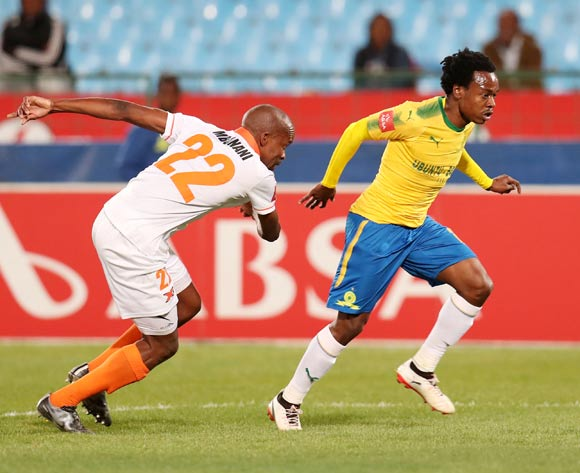 Percy Tau of Mamelodi Sundowns challenged by Sibusiso Mbonani of Polokwane City during Absa Premiership 2017/18 match between Mamelodi Sundowns and Polokwane City at Loftus Versveld Stadium, Pretoria South Africa on 22 August 2017 ©Muzi Ntombela/BackpagePix