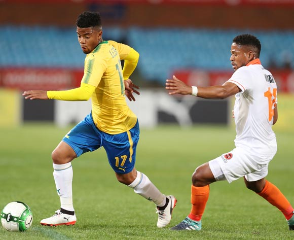 George Lebese of Mamelodi Sundowns challenged by Edgar Manaka of Polokwane City during Absa Premiership 2017/18 match between Mamelodi Sundowns and Polokwane City at Loftus Versveld Stadium, Pretoria South Africa on 22 August 2017 ©Muzi Ntombela/BackpagePix
