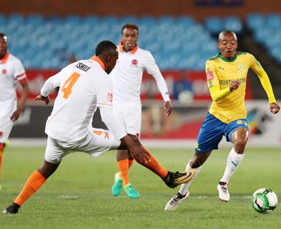 Thapelo Morena of Mamelodi Sundowns challenged by Thapelo Tshilo of Polokwane City during Absa Premiership 2017/18 match between Mamelodi Sundowns and Polokwane City at Loftus Versveld Stadium, Pretoria South Africa on 22 August 2017 ©Muzi Ntombela/BackpagePix