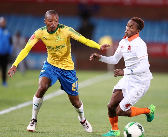 Thapelo Morena of Mamelodi Sundowns challenged by Thabang Klaas of Polokwane City during Absa Premiership 2017/18 match between Mamelodi Sundowns and Polokwane City at Loftus Versveld Stadium, Pretoria South Africa on 22 August 2017 ©Muzi Ntombela/BackpagePix