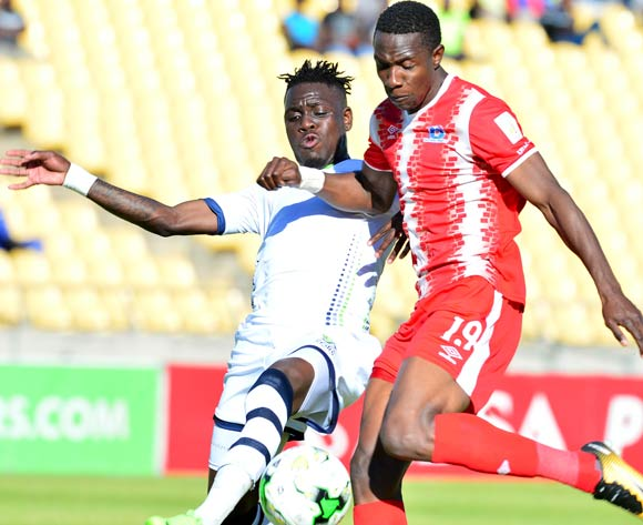 Evans Rusike of Maritzburg United challenged by Siyabonga Zulu of Platinum Stars during the Absa Premiership match between Platinum Stars and Maritzburg United at the Royal Bafokeng Stadium in Rustenburg on 20 August 2017 ©Aubrey Kgakatsi/BackpagePix