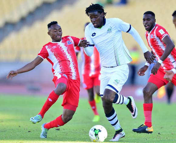 Benson Shilongo of Platinum Stars challenged by Lebohang Maboe of Maritzburg United during the Absa Premiership match between Platinum Stars and Maritzburg United at the Royal Bafokeng Stadium in Rustenburg on 20 August 2017 ©Aubrey Kgakatsi/BackpagePix