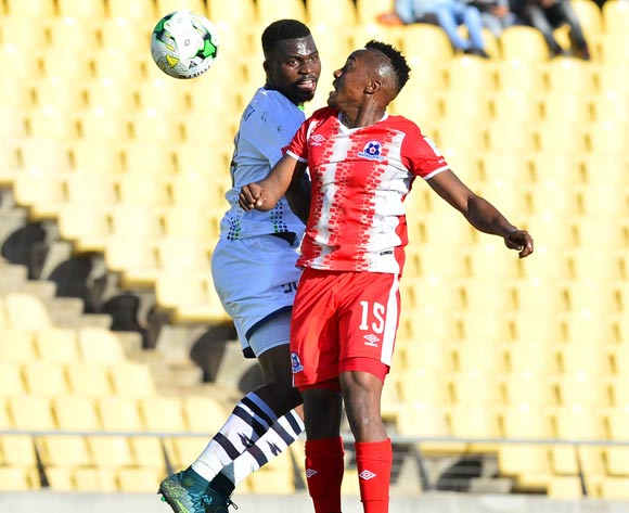 Enocent Mkhabela of Platinum Stars challenged by Lebohang Maboe of Maritzburg United during the Absa Premiership match between Platinum Stars and Maritzburg United at the Royal Bafokeng Stadium in Rustenburg on 20 August 2017 ©Aubrey Kgakatsi/BackpagePix