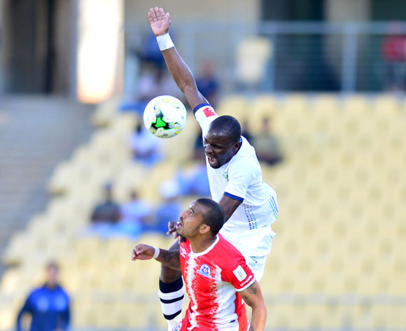 Robert Ngambi of Platinum Stars challenged by Deolin Mekoa of Maritzburg United during the Absa Premiership match between Platinum Stars and Maritzburg United at the Royal Bafokeng Stadium in Rustenburg on 20 August 2017 ©Aubrey Kgakatsi/BackpagePix