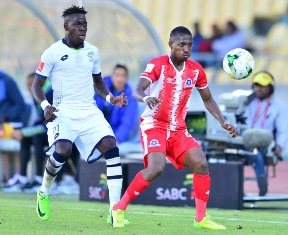 Bandile Shandu of Maritzburg United challenged by Siyabonga Zulu of Platinum Stars during the Absa Premiership match between Platinum Stars and Maritzburg United at the Royal Bafokeng Stadium in Rustenburg on 20 August 2017 ©Aubrey Kgakatsi/BackpagePix
