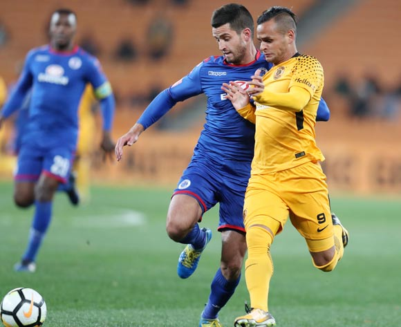 Gustavo Paez of Kaizer Chiefs challenged by Keegan Ritchie of Supersport United during Absa Premiership 2017/18 match between Kaizer Chiefs and Supersport United at FNB Stadium, Johannesburg South Africa on 23 August 2017 ©Muzi Ntombela/BackpagePix