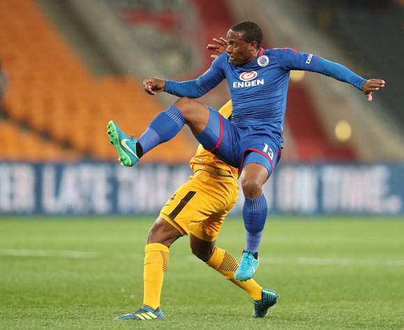 Thuso Phala of Supersport United challenged by Tsepo Masilela of Kaizer Chiefs during Absa Premiership 2017/18 match between Kaizer Chiefs and Supersport United at FNB Stadium, Johannesburg South Africa on 23 August 2017 ©Muzi Ntombela/BackpagePix
