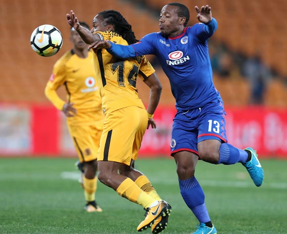Siphiwe Tshabalala of Kaizer Chiefs challenged by Thuso Phala of Supersport United during Absa Premiership 2017/18 match between Kaizer Chiefs and Supersport United at FNB Stadium, Johannesburg South Africa on 23 August 2017 ©Muzi Ntombela/BackpagePix