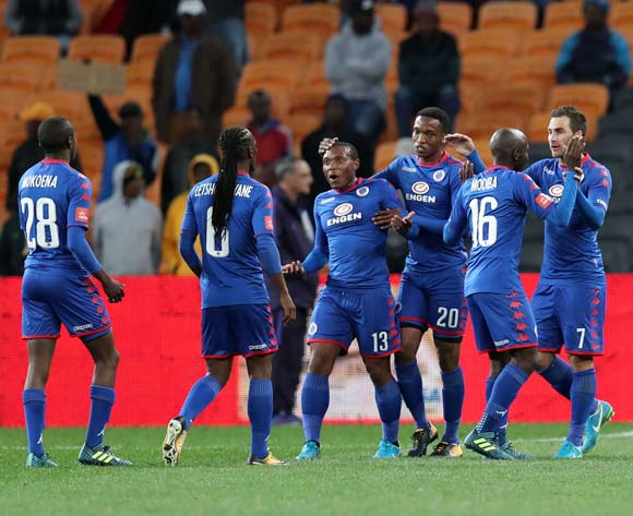 Bradley Grobler of Supersport United (7) celebrates goal with teammates during Absa Premiership 2017/18 match between Kaizer Chiefs and Supersport United at FNB Stadium, Johannesburg South Africa on 23 August 2017 ©Muzi Ntombela/BackpagePix