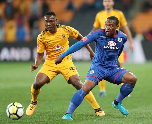Thuso Phala of Supersport United challenged by Philani Zulu of Kaizer Chiefs during Absa Premiership 2017/18 match between Kaizer Chiefs and Supersport United at FNB Stadium, Johannesburg South Africa on 23 August 2017 ©Muzi Ntombela/BackpagePix