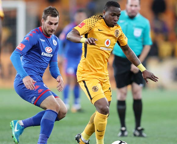 George Maluleka of Kaizer Chiefs challenged by Bradley Grobler of Supersport United during Absa Premiership 2017/18 match between Kaizer Chiefs and Supersport United at FNB Stadium, Johannesburg South Africa on 23 August 2017 ©Muzi Ntombela/BackpagePix