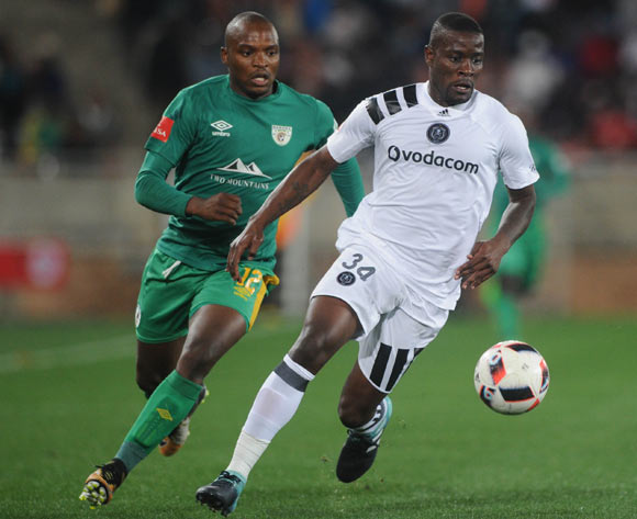 Ntsikelelo Nyauza of Orlando Pirates is challenged by Gift Motupa of Baroka FC during the Absa Premiership match between Baroka FC and Orlando Pirates on the 22 August 2017 at Peter Mokaba Stadium © Sydney Mahlangu /BackpagePix