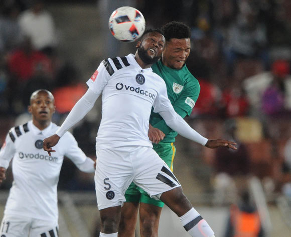 Mpho Makola of Orlando Pirates is challenged by Mpho Kgaswane of Baroka FC during the Absa Premiership match between Baroka FC and Orlando Pirates on the 22 August 2017 at Peter Mokaba Stadium © Sydney Mahlangu /BackpagePix