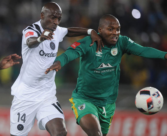 Musa Nyatama of Orlando Pirates challenges Gift Motupa of Baroka FC during the Absa Premiership match between Baroka FC and Orlando Pirates on the 22 August 2017 at Peter Mokaba Stadium © Sydney Mahlangu /BackpagePix
