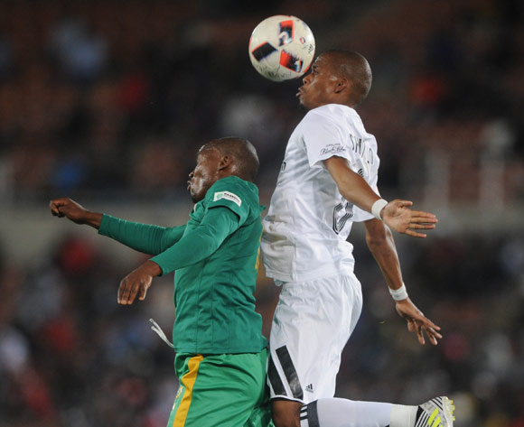 Gladwin Shitolo of Orlando Pirates challenges Gift Motupa of Baroka FC during the Absa Premiership match between Baroka FC and Orlando Pirates on the 22 August 2017 at Peter Mokaba Stadium © Sydney Mahlangu /BackpagePix