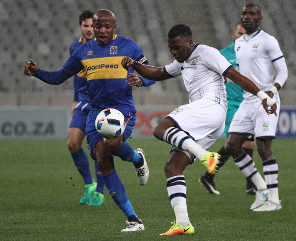 Enocent Mkhabela of Platinum Stars battles for the ball with Lebogang Manyama of Cape Town City FC during the Absa Premiership 2017/18 football match between Cape Town City FC and Platinum Stars at Cape Town Stadium, Cape Town on 23 August 2017 ©Chris Ricco/BackpagePix