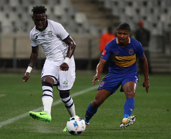 Siyabonga Zulu of Platinum Stars evades challenge from Lyle Lakay of Cape Town City FC during the Absa Premiership 2017/18 football match between Cape Town City FC and Platinum Stars at Cape Town Stadium, Cape Town on 23 August 2017 ©Chris Ricco/BackpagePix