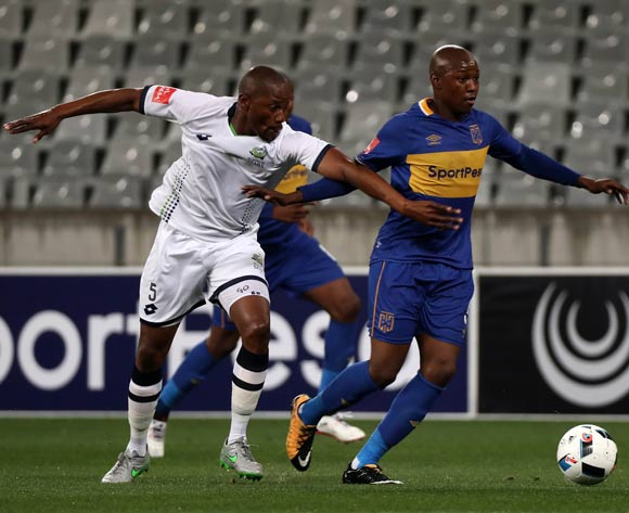 Letsie Koapeng of Cape Town City FC evades challenge from Gift Sithole of Platinum Stars during the Absa Premiership 2017/18 football match between Cape Town City FC and Platinum Stars at Cape Town Stadium, Cape Town on 23 August 2017 ©Chris Ricco/BackpagePix
