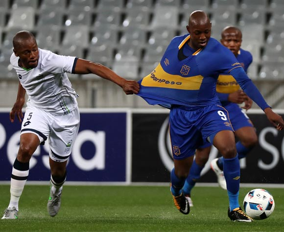 Letsie Koapeng of Cape Town City FC fouled by Gift Sithole of Platinum Stars during the Absa Premiership 2017/18 football match between Cape Town City FC and Platinum Stars at Cape Town Stadium, Cape Town on 23 August 2017 ©Chris Ricco/BackpagePix