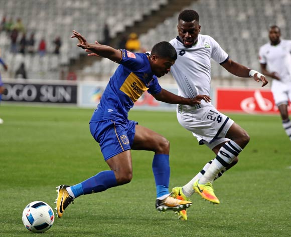 Lyle Lakay of Cape Town City FC challenged by Enocent Mkhabela of Platinum Stars during the Absa Premiership 2017/18 football match between Cape Town City FC and Platinum Stars at Cape Town Stadium, Cape Town on 23 August 2017 ©Chris Ricco/BackpagePix