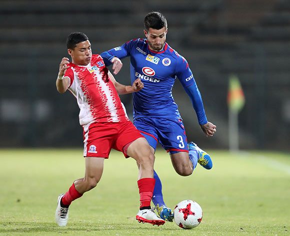 Keegan Ritchie of Supersport United challenged by Devon Saal of Maritzburg United during MTN8 Semifinal match between Supersport United and Maritzburg United at Lucas Moripe Stadium, Atteridgeville South Africa on 26 August 2017 ©Muzi Ntombela/BackpagePix