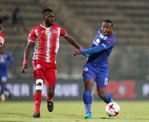 Thuso Phala of Supersport United challenged by Fortune Makaringe of Maritzburg United during MTN8 Semifinal match between Supersport United and Maritzburg United at Lucas Moripe Stadium, Atteridgeville South Africa on 26 August 2017 ©Muzi Ntombela/BackpagePix