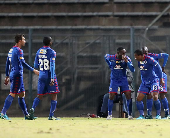 Thuso Phala of Supersport United celebrates goal with teammates during MTN8 Semifinal match between Supersport United and Maritzburg United at Lucas Moripe Stadium, Atteridgeville South Africa on 26 August 2017 ©Muzi Ntombela/BackpagePix