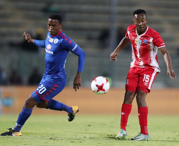 Lebohang Maboe of Maritzburg United challenged by Grant Kekana of Supersport United during MTN8 Semifinal match between Supersport United and Maritzburg United at Lucas Moripe Stadium, Atteridgeville South Africa on 26 August 2017 ©Muzi Ntombela/BackpagePix