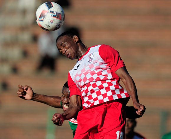 Sifiso Mbhele of Free State Stars FC goes high for the ball during the Absa Premiership 2017/18 game between AmaZulu and Free State Stars at King Zwelithini Stadium, Durban on 19 August 2017 © Gerhard Duraan/BackpagePix