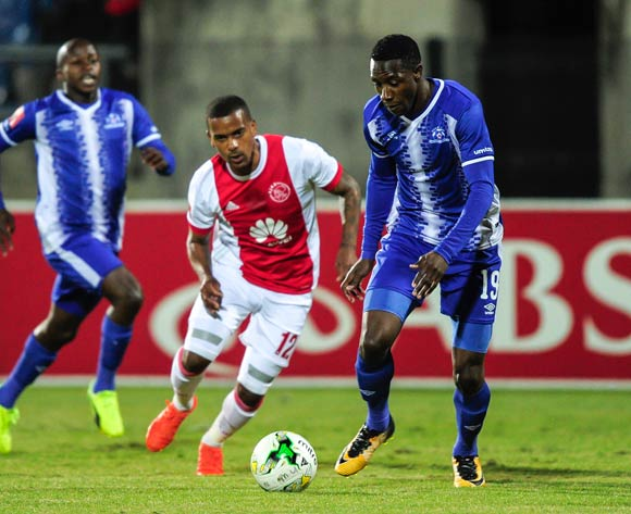 Evans Rusike of Maritzburg United gets away from Erwin Isaacs of Ajax Cape Town F.C. during the Absa Premiership 2017/18 game between Maritzburg United and Ajax Cape Town at Harry Gwala Stadium, Pietermaritzburg on 23 August 2017 © Gerhard Duraan/BackpagePix
