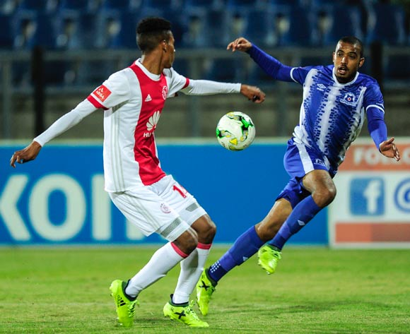 Sait of Ajax Cape Town F.C. and Deolin Mekoa of Maritzburg United both aim to get the ball during the Absa Premiership 2017/18 game between Maritzburg United and Ajax Cape Town at Harry Gwala Stadium, Pietermaritzburg on 23 August 2017 © Gerhard Duraan/BackpagePix