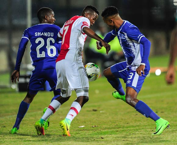 Thabo Mosadi of Ajax Cape Town F.C. and Pogiso Sanoka of Maritzburg United fight for the ball during the Absa Premiership 2017/18 game between Maritzburg United and Ajax Cape Town at Harry Gwala Stadium, Pietermaritzburg on 23 August 2017 © Gerhard Duraan/BackpagePix