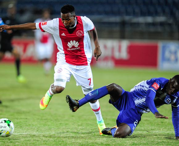 Siyanda Xulu of Maritzburg United tries to defend Thabo Mosadi of Ajax Cape Town F.C. during the Absa Premiership 2017/18 game between Maritzburg United and Ajax Cape Town at Harry Gwala Stadium, Pietermaritzburg on 23 August 2017 © Gerhard Duraan/BackpagePix