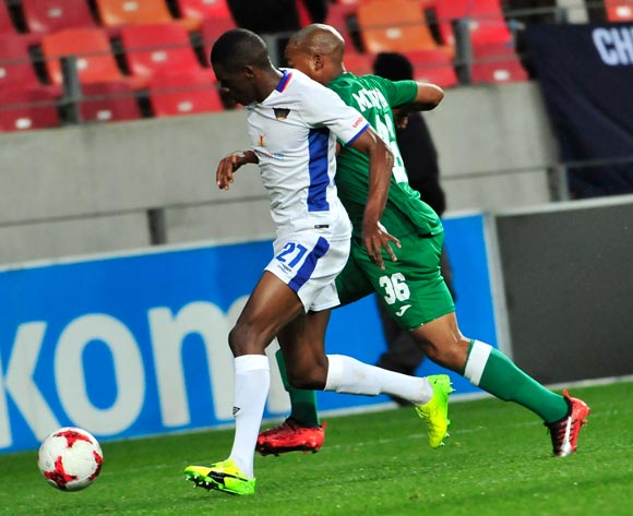 Abel Mabaso of Chippa United and Simphiwe Mtsweni Amazulu FC during the Absa Premiership 2017/18 game between Chippa United and Amazulu  at Nelson Mandela Bay Stadium in Port Elizabeth on 22 August 2017 © Deryck Foster/BackpagePix