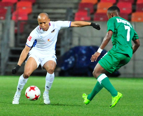 Kurt Lentjies of Chippa United and Augustine Ramphele of Amazulu during the Absa Premiership 2017/18 game between Chippa United and Amazulu  at Nelson Mandela Bay Stadium in Port Elizabeth on 22 August 2017 © Deryck Foster/BackpagePix