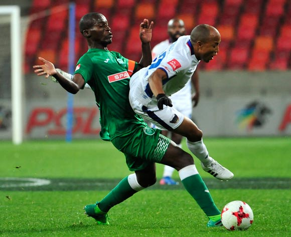 Kurt Lentjies of Chippa United and Tapelo Nyongo of Amazulu FC during the Absa Premiership 2017/18 game between Chippa United and Amazulu  at Nelson Mandela Bay Stadium in Port Elizabeth on 22 August 2017 © Deryck Foster/BackpagePix