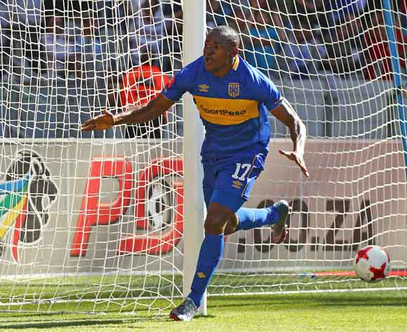 Victor Obinna of Cape Town City celebrates goal during the Absa Premiership 2017/18 football match between Ajax Cape Town and Cape Town City FC at Cape Town Stadium, Cape Town on 30 September 2017 ©Chris Ricco/BackpagePix