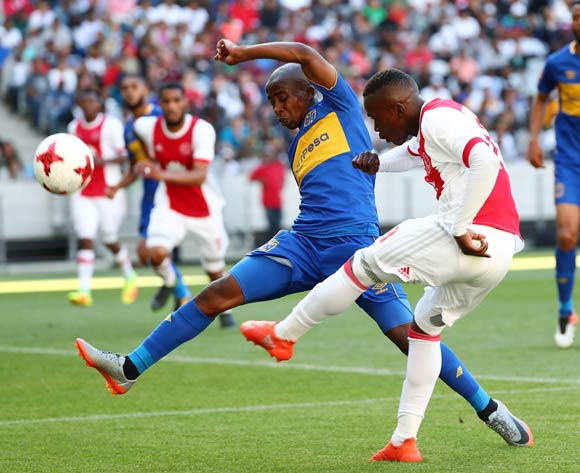 Masilake Phohlongo of Ajax Cape Town challenged by Thabo Nodada of Cape Town City during the Absa Premiership 2017/18 football match between Ajax Cape Town and Cape Town City FC at Cape Town Stadium, Cape Town on 30 September 2017 ©Chris Ricco/BackpagePix