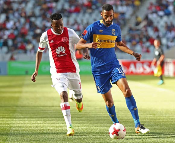 Taariq Fielies of Cape Town City evades challenge from Thabo Mosadi of Ajax Cape Town during the Absa Premiership 2017/18 football match between Ajax Cape Town and Cape Town City FC at Cape Town Stadium, Cape Town on 30 September 2017 ©Chris Ricco/BackpagePix
