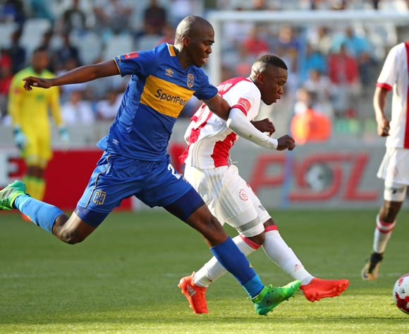 Masilake Phohlongo of Ajax Cape Town challenged by Mpho Matsi of Cape Town City during the Absa Premiership 2017/18 football match between Ajax Cape Town and Cape Town City FC at Cape Town Stadium, Cape Town on 30 September 2017 ©Chris Ricco/BackpagePix