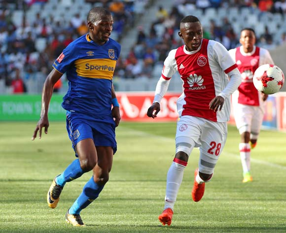Masilake Phohlongo of Ajax Cape Town evades challenge from Thamsanqa Mkhize of Cape Town City during the Absa Premiership 2017/18 football match between Ajax Cape Town and Cape Town City FC at Cape Town Stadium, Cape Town on 30 September 2017 ©Chris Ricco/BackpagePix