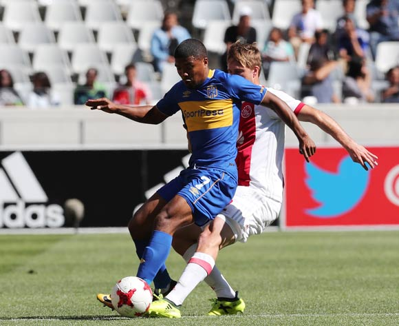 Lyle Lakay of Cape Town City shields ball from Rheece Evans of Ajax Cape Town during the 2017/18 Absa Premiership football match between Ajax Cape Town and Cape Town City at Cape Town Stadium, Cape Town on 30 September 2017 ©Gavin Barker/BackpagePix