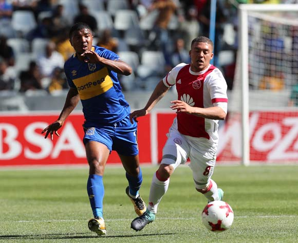 Grant Margeman of Ajax Cape Town gets away from Lyle Lakay of Cape Town City during the 2017/18 Absa Premiership football match between Ajax Cape Town and Cape Town City at Cape Town Stadium, Cape Town on 30 September 2017 ©Gavin Barker/BackpagePix