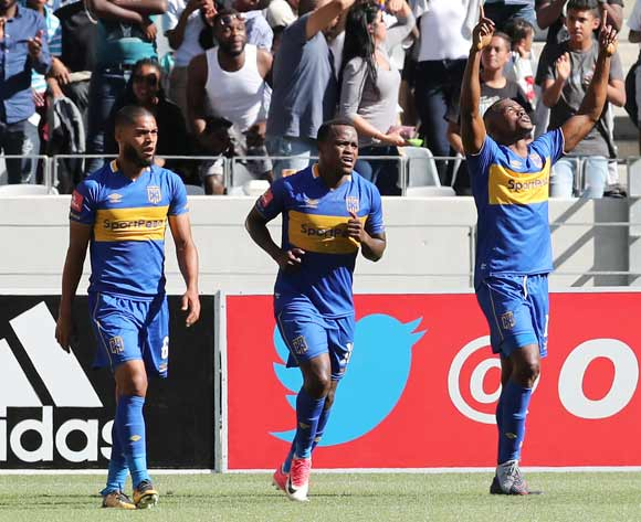 Victor Obinna of Cape Town City (r) celebrates goal during the 2017/18 Absa Premiership football match between Ajax Cape Town and Cape Town City at Cape Town Stadium, Cape Town on 30 September 2017 ©Gavin Barker/BackpagePix
