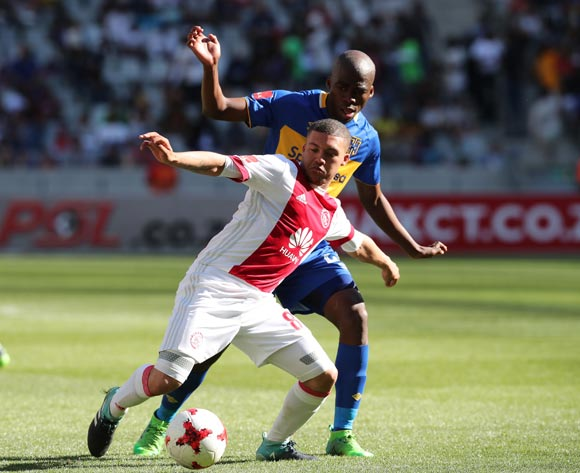 Grant Margeman of Ajax Cape Town shields ball from Mpho Matsi of Cape Town City during the 2017/18 Absa Premiership football match between Ajax Cape Town and Cape Town City at Cape Town Stadium, Cape Town on 30 September 2017 ©Gavin Barker/BackpagePix