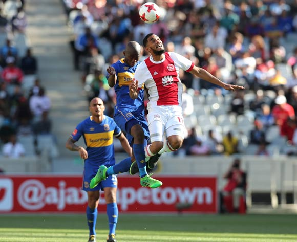 Tashreeq Morris of Ajax Cape Town wins header against Mpho Matsi of Cape Town City during the 2017/18 Absa Premiership football match between Ajax Cape Town and Cape Town City at Cape Town Stadium, Cape Town on 30 September 2017 ©Gavin Barker/BackpagePix