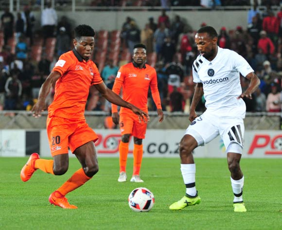 Salumani Phiri of Polokwane City and Thabo Rakhale of Orlando Pirates during the Absa Premiership 2017/18 football match between Polokwane City and Orlando Pirates at Peter Mokaba Stadium, Limpopo on 30 September 2017 ©/BackpagePix